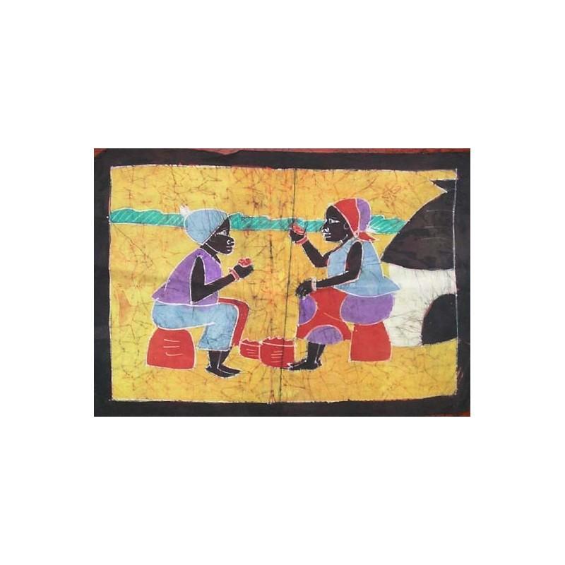 Batik de Cote d'Ivoire taille 2 couple prenant le repas