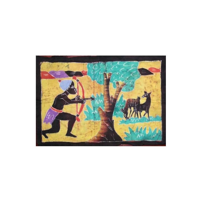 Batik de Cote d'Ivoire taille 2 scène de chasse
