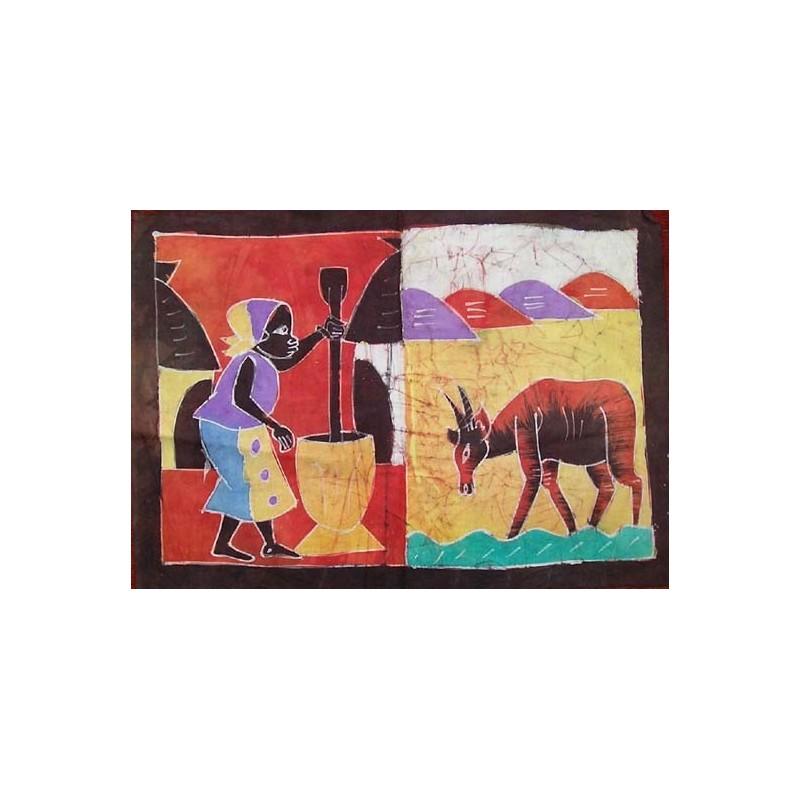 Batik de Cote d'Ivoire taille 2 pileuse et gazelle