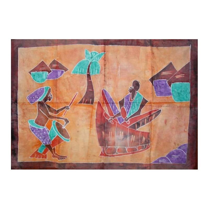 Batik de Cote d'Ivoire taille 4 girafe, éléphant et gazelle