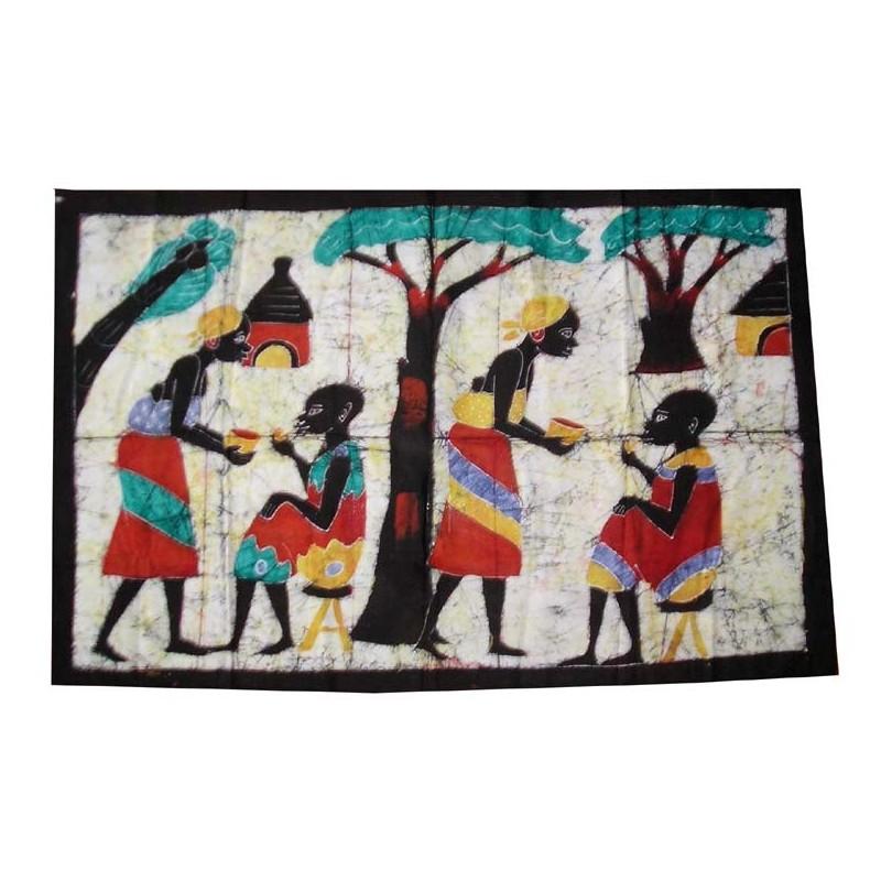 Batik de Cote d'Ivoire taille 4 scène de village