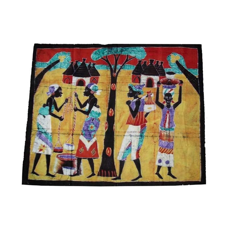 Batik de Cote d'Ivoire taille 7 scène de village