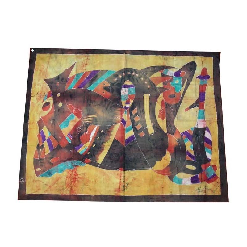 Batik de Cote d'Ivoire taille 7 peinture cubiste abstaite