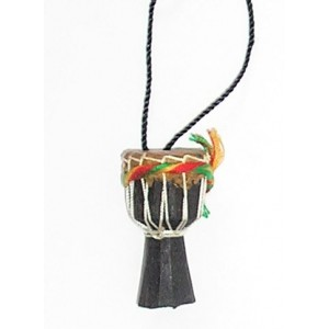 Pendentif Djembé en bois et cuir teint en noir
