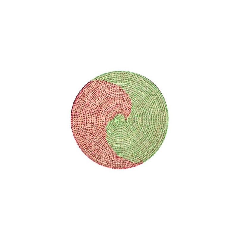 Set de table, sous-plat en paille de brousse rouge et vert