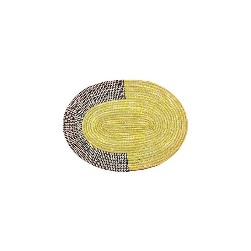 Set de table, sous-plat ovale en paille de brousse jaune et noir