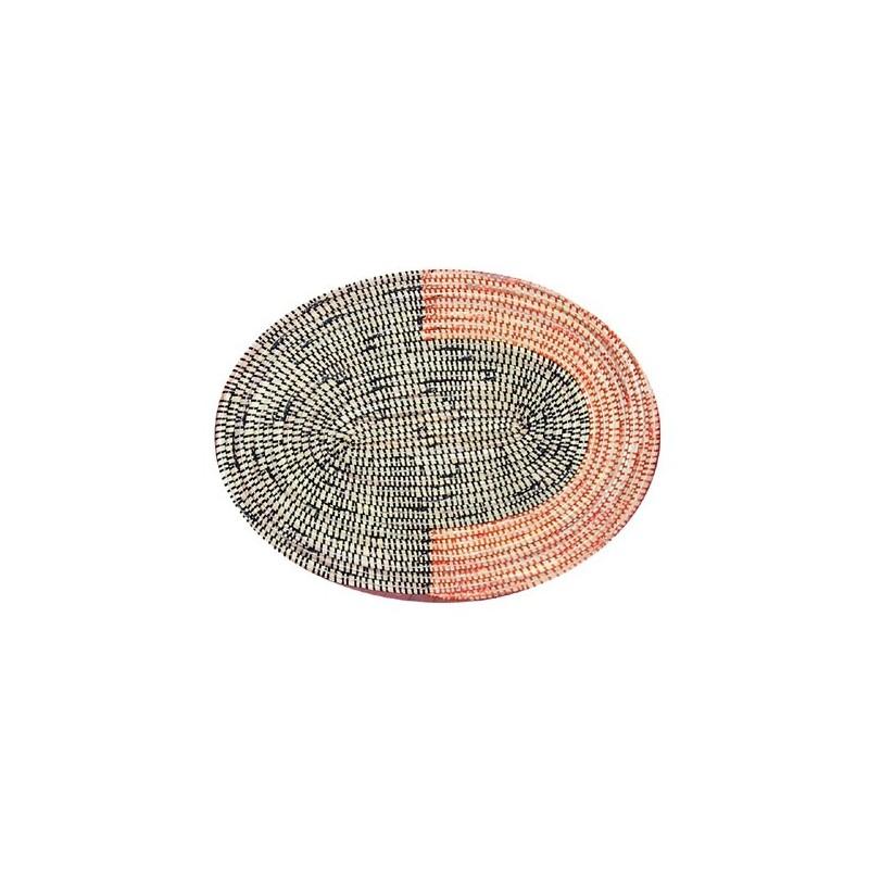 Set de table, sous-plat ovale en paille de brousse