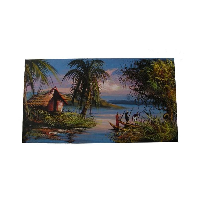 Tableau sur chassis du Congo (RDC) paysage de lagunes