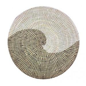 Set de table, sous-plat en paille de brousse blanc et noir