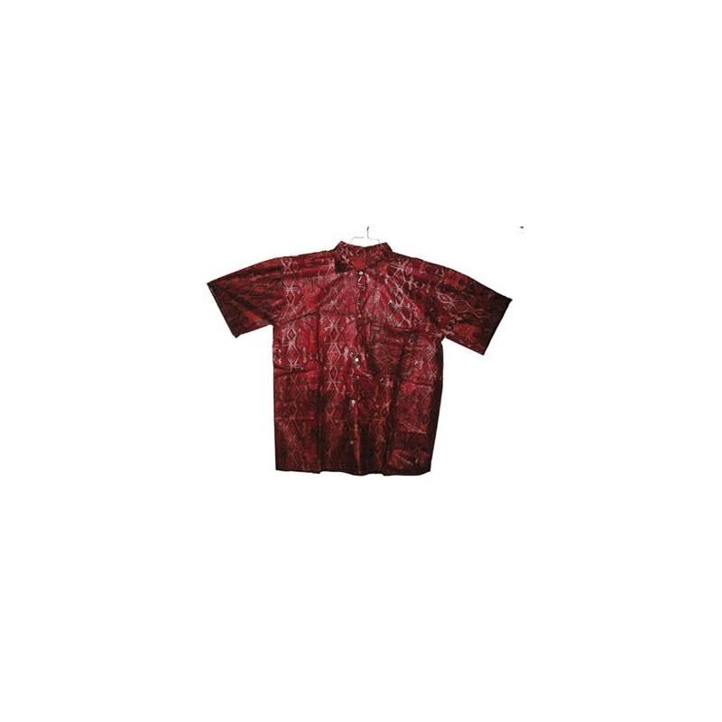 Chemise fancy coton homme motif elephant rouge