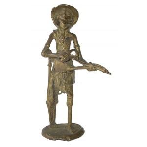 Statue de musicien griot Touareg ou Maure en bronze