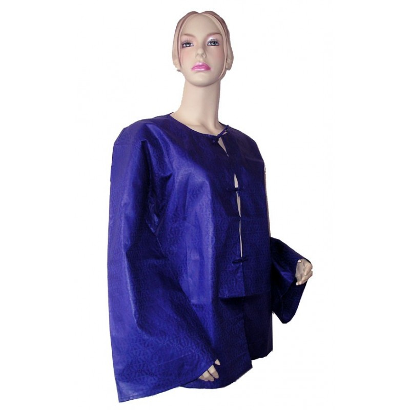 Veste femme d'été légère en coton bazin indigo