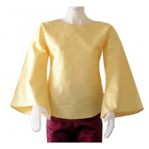 Haut femme en coton bazin jaune