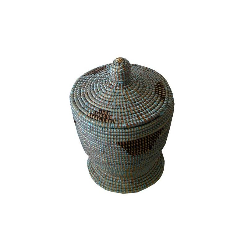 Panier Africain forme mortier à couvercle bleu et noir