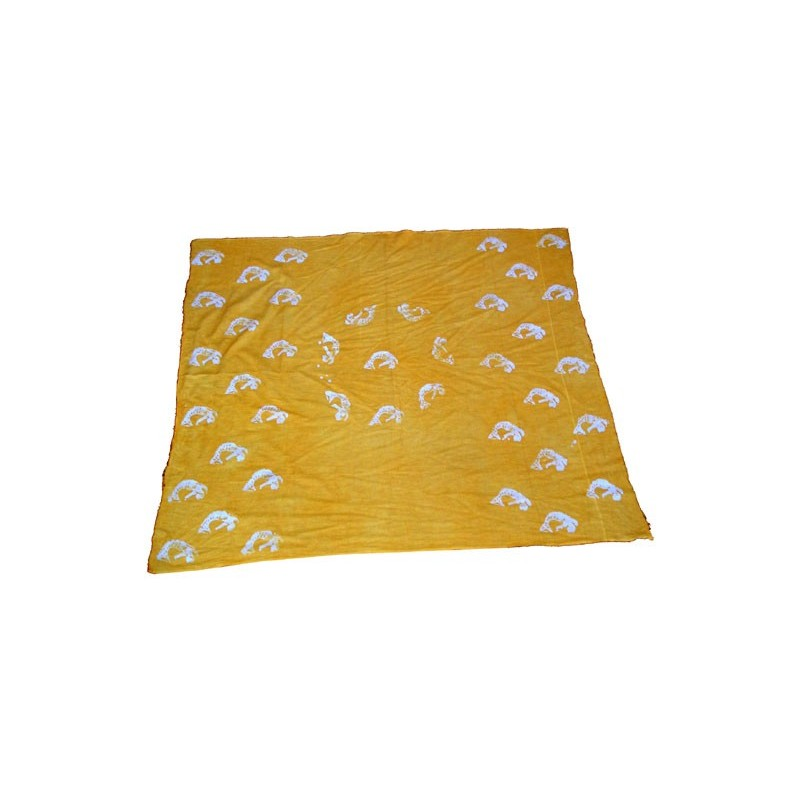 Fine toile de coton brute jaune motif sirène