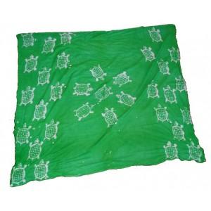 Fine toile de coton brute verte motif tortue