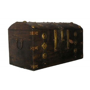 Gros coffre Africain Touareg bois fer et bronze a clef