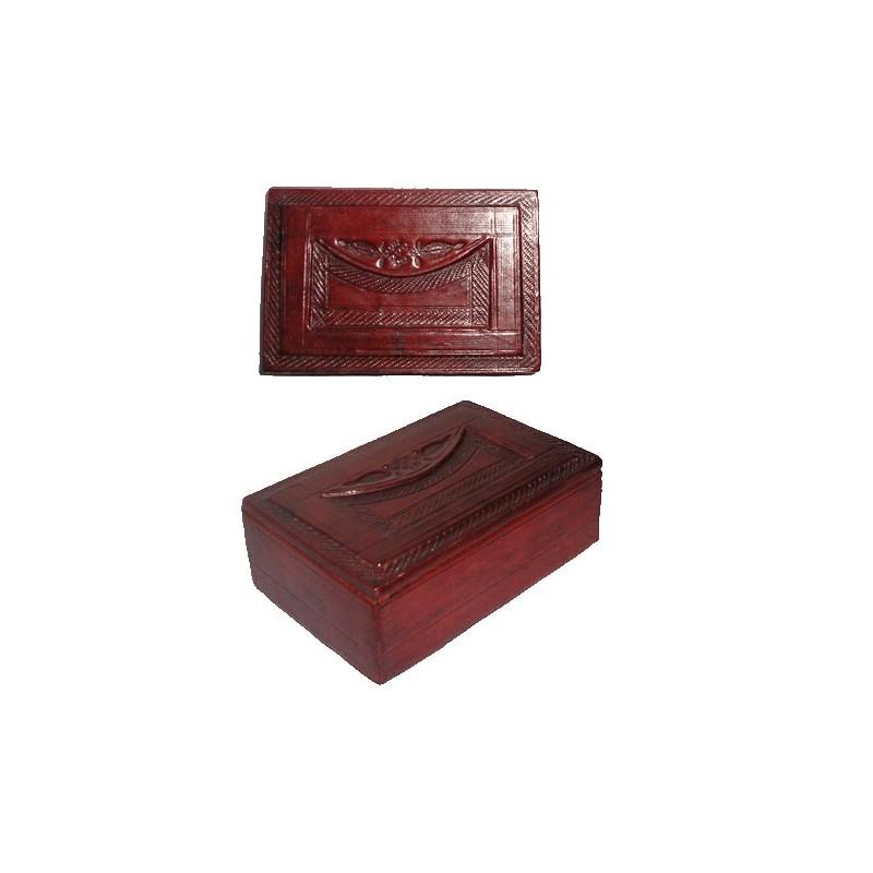 Boite Touareg en cuir brun avec motifs