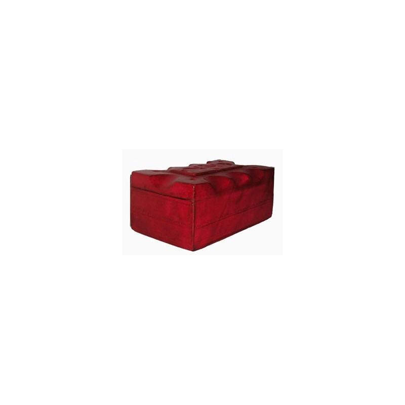 Boite Touareg en cuir rouge avec motifs