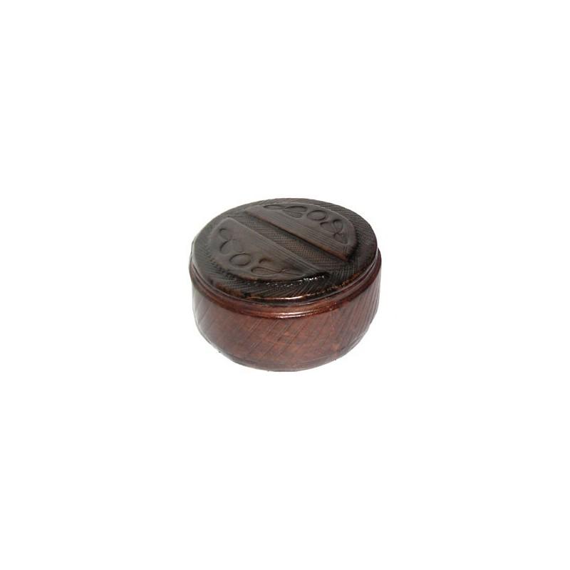 Boite Touareg ronde en cuir brun avec motifs