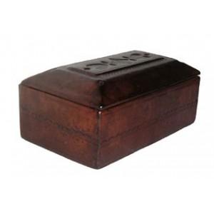 Boite Touareg sarcophage en cuir brun avec motifs