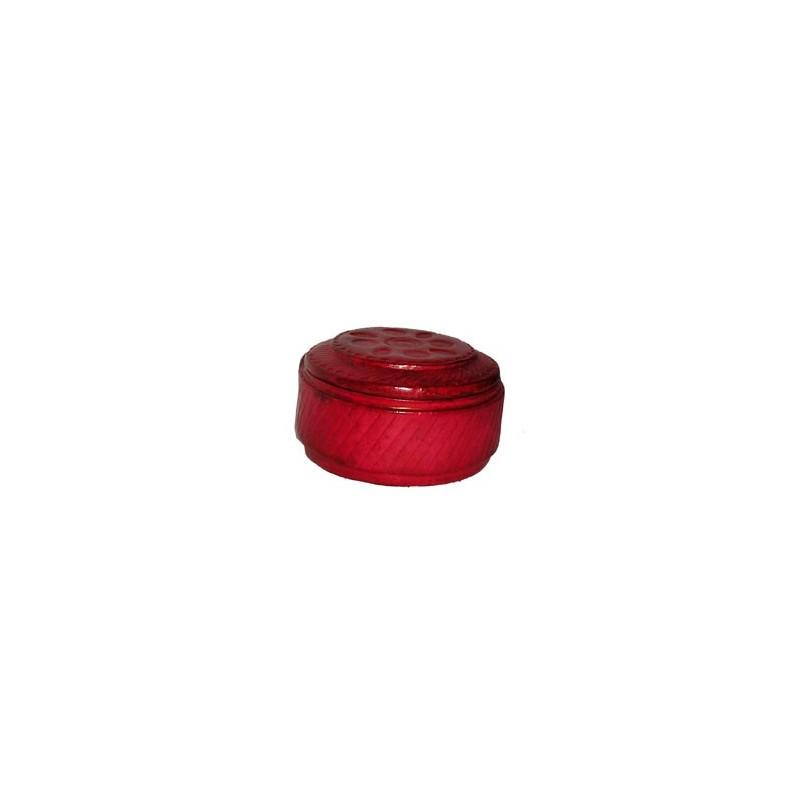 Boite Touareg ronde en cuir rouge avec motifs