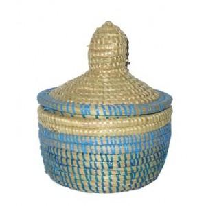 Panier Africain à épice blanc et bleu