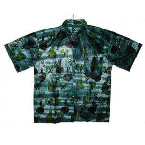 Chemise fancy coton homme motif tribal verte