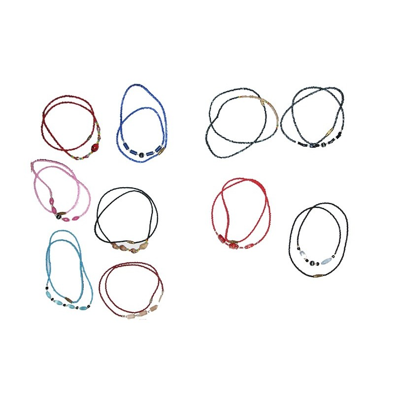 Lot de 10 Colliers bracelets fins fantaisie colorés