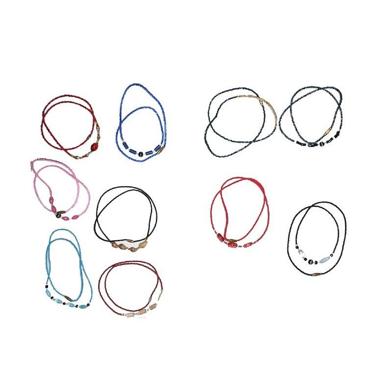 Lot de 10 Colliers bracelets fins fantaisie colorés