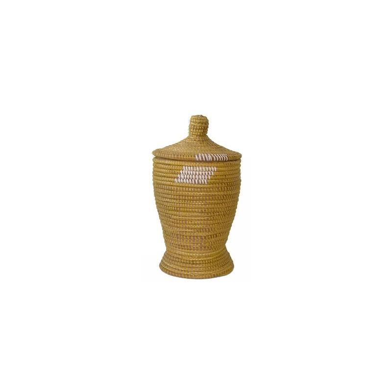 Panier Africain mortier à couvercle jaune et blanc