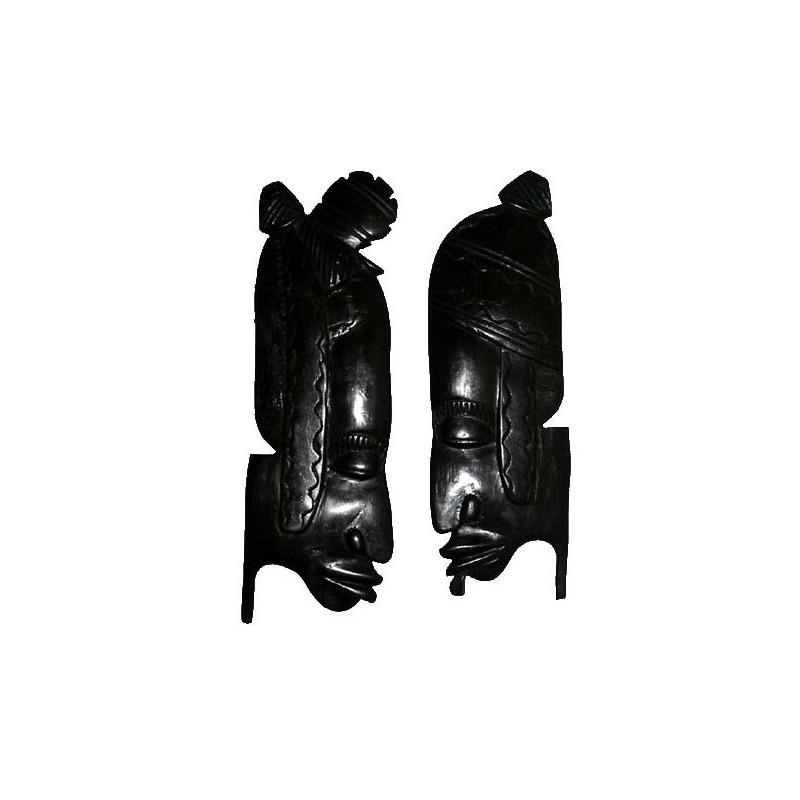 Couple, masques de mariage en ebene