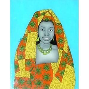 Tableau sous-verre du Sénégal portrait de femme
