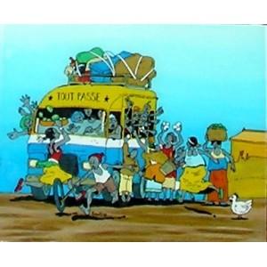 Tableau sous-verre du Sénégal le Taxi-brousse