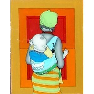 Tableau sous-verre du Sénégal femme à l'enfant
