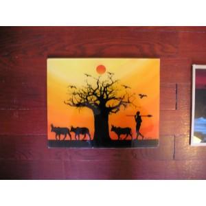 Tableau sous-verre du Sénégal couche de soleil en brousse