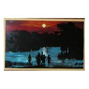 Tableau sous-verre crepuscule sur les bords du Sénégal à saint-Louis