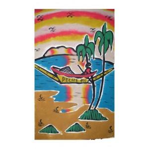 Tableau de sable scene de peche