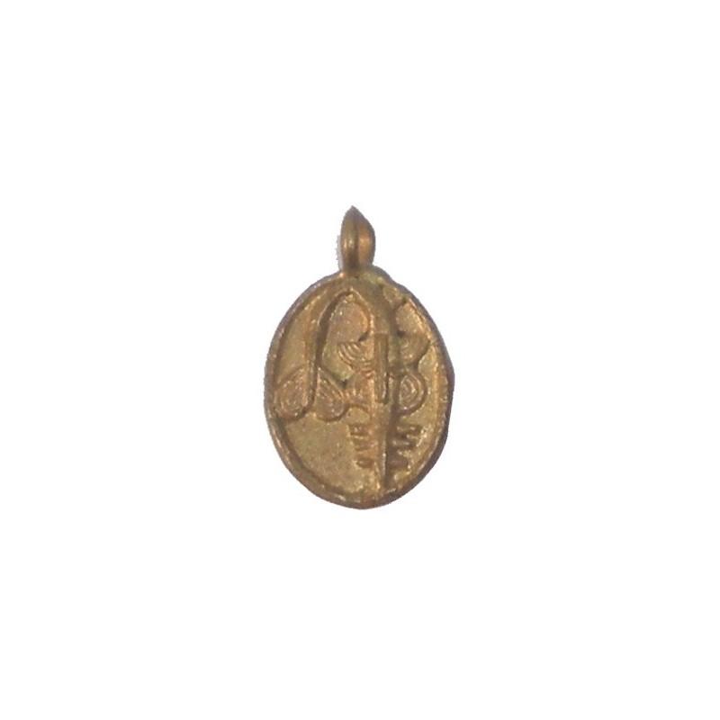 Poids Akan pendentif medaille en cuivre à peser l'or masque poisson-scie