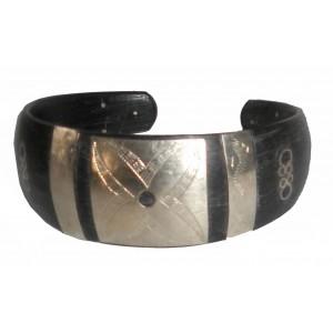 Bracelet Touareg en corne ébène argent et bronze