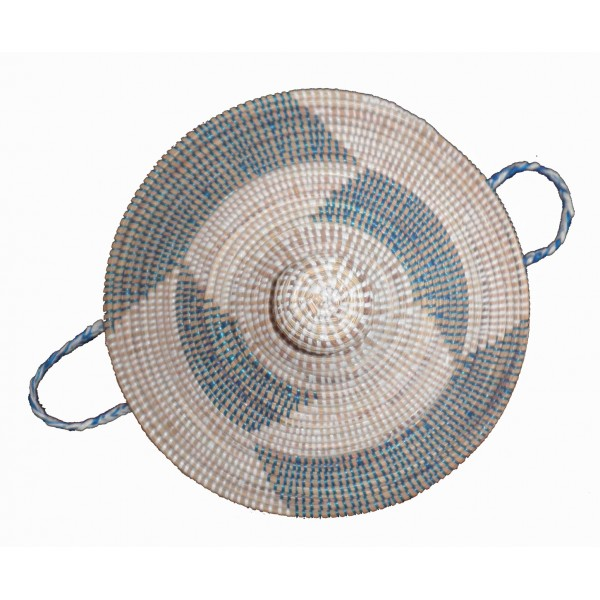 grand panier thies africain a linge bleu et blanc terang 39 art. Black Bedroom Furniture Sets. Home Design Ideas